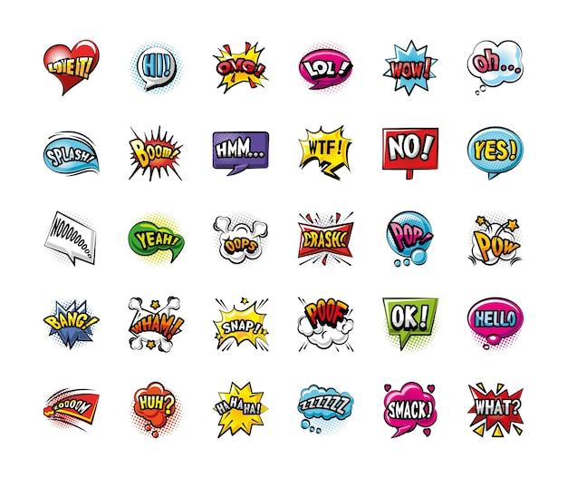 Bolhas pop art detalhadas estilo 30 icon set design de quadrinhos de expressão retro