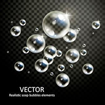 Bolhas realistas com belas refrações em fundo transparente