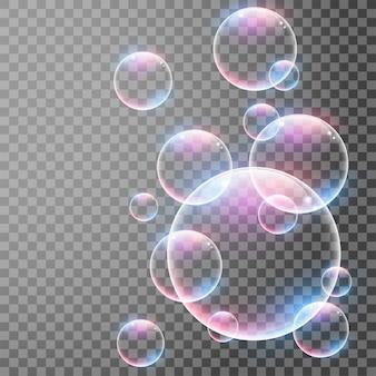 Bolhas realistas transparentes com reflexões