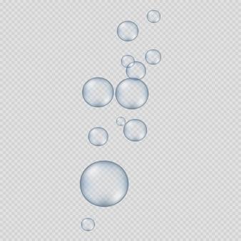 Bolhas redondas grandes e pequenas em transparente