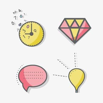 Bolinha de linha plana, bolinha, diamante, horário e ícone da lâmpada