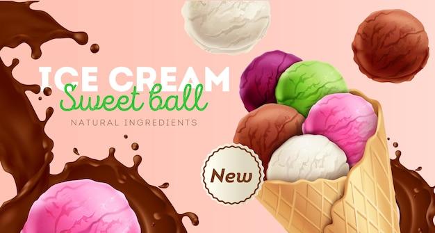 Bolinhas coloridas doces de sorvete com anúncio de ingredientes naturais