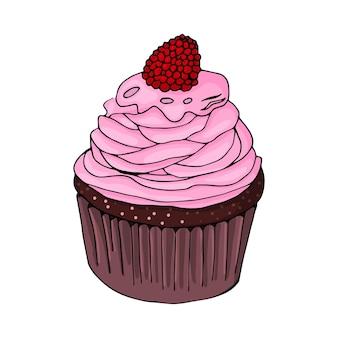 Bolinho de chocolate com creme rosa e framboesas em um fundo branco