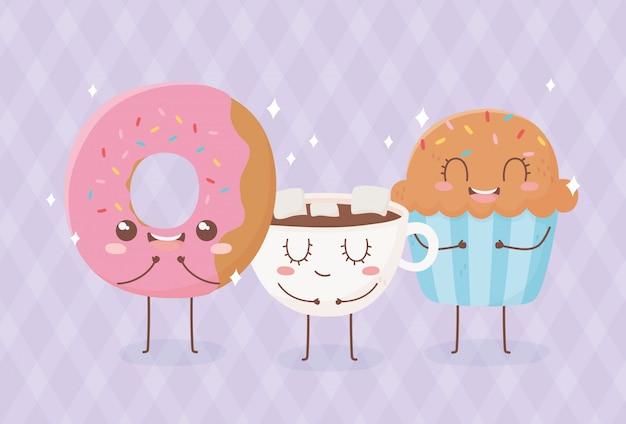 Bolinho de donut e chocolate cup kawaii comida cartoon design de personagens