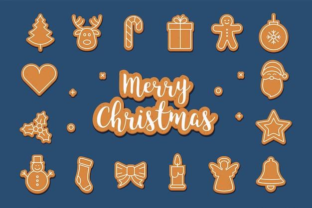 Bolinho de gengibre de saudações feliz natal conjunto fundo azul
