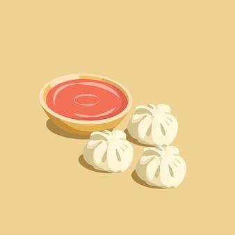 Bolinho de massa tradicional nepalesa de momos com molho do tomate
