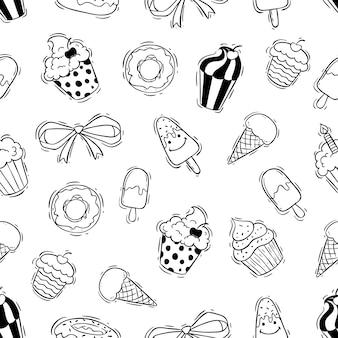 Bolinho e donut padrão sem emenda com estilo doodle