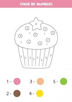 Bolinho fofo de cor por números. jogo educativo para crianças. página para colorir.