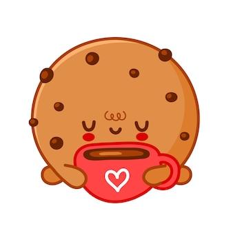 Bolinho fofo e engraçado com gotas de chocolate bebe café