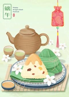 Bolinhos de arroz deliciosos e jogo de chá quente