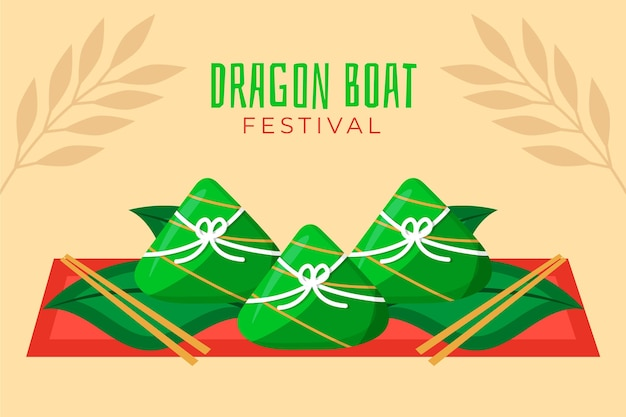Bolinhos de arroz dragão barco evento fundo