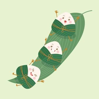Bolinhos de arroz pegajoso chineses fofos e kawaii personagens de desenhos animados zongzi com folha de bambu