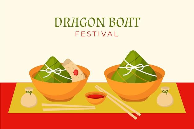 Bolinhos de arroz zongzi fundo de evento de barco de dragão