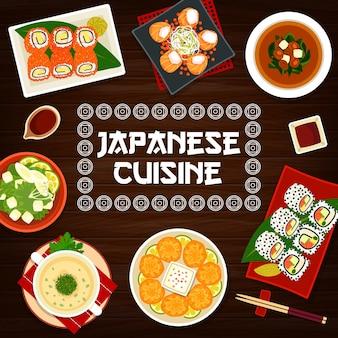 Bolinhos de camarão frito em pôster de culinária japonesa