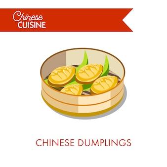 Bolinhos de massa chineses no prato isolado no branco