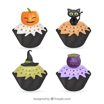 Bolinhos deliciosos conjunto de halloween
