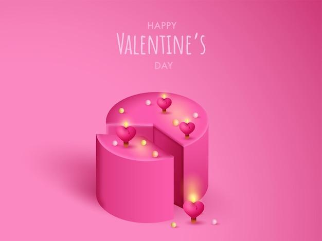 Bolo 3d rosa decorado com velas de coração iluminadas. feliz dia dos namorados.