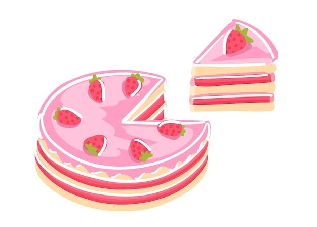 Bolo com morangos. sobremesa doce. pedaço de bolo rosa.