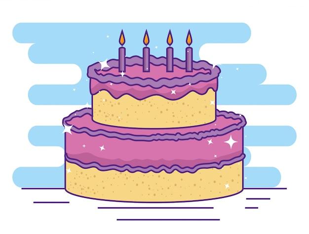 Bolo com velas para comemoração de feliz aniversário