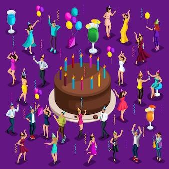 Bolo comemorativo grande de isometria com velas, pessoas dançando, feliz, bebidas, balões, guirlandas, fogos de artifício