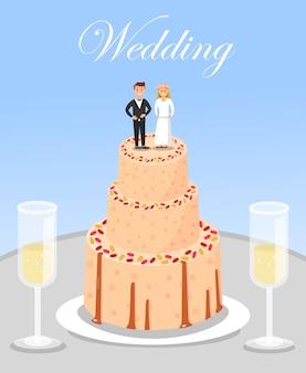 Bolo da celebração do casamento e vidros de champagne.