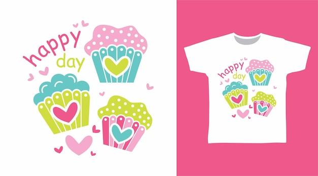Bolo de amor fofo para o design de camisetas