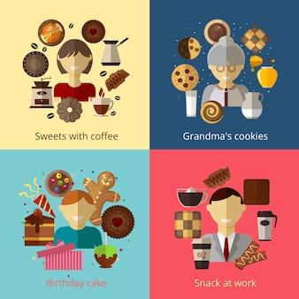 Bolo de aniversário, biscoitos da vovó, doces com café e lanche no trabalho, conjunto de composições