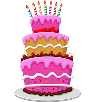 Bolo de aniversário colorido com velas