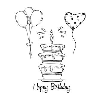 Bolo de aniversário com balão e vela usando estilo esboçado