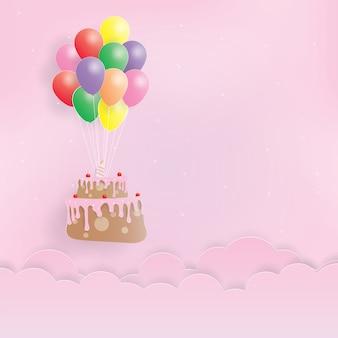 Bolo de aniversário com balões, feliz aniversário, arte de papel, papel cortado, artesanato vector, design