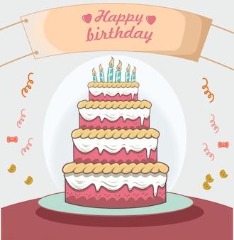 Bolo de aniversário com design plano de decoração de cartaz