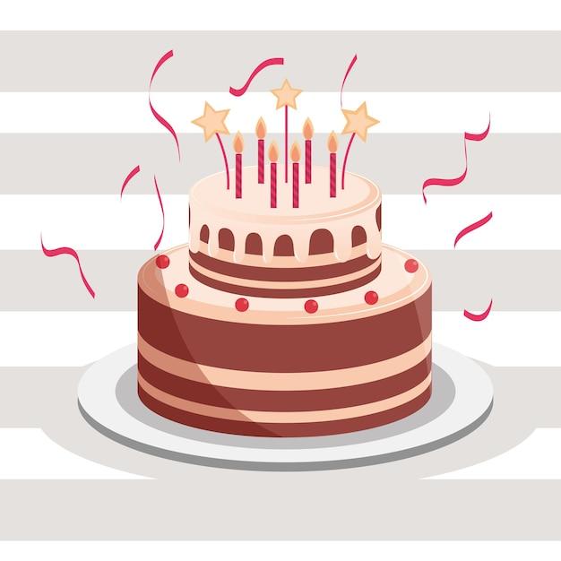Bolo de aniversário com velas e ilustração de confete