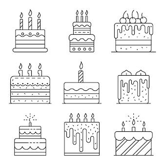Bolo de aniversário conjunto de ícones. conjunto de contorno dos ícones de vetor de aniversário de bolo