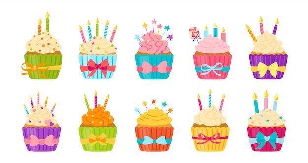 Bolo de aniversário conjunto plano de muffin