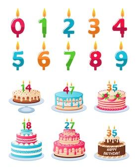 Bolo de aniversário de aniversário com velas