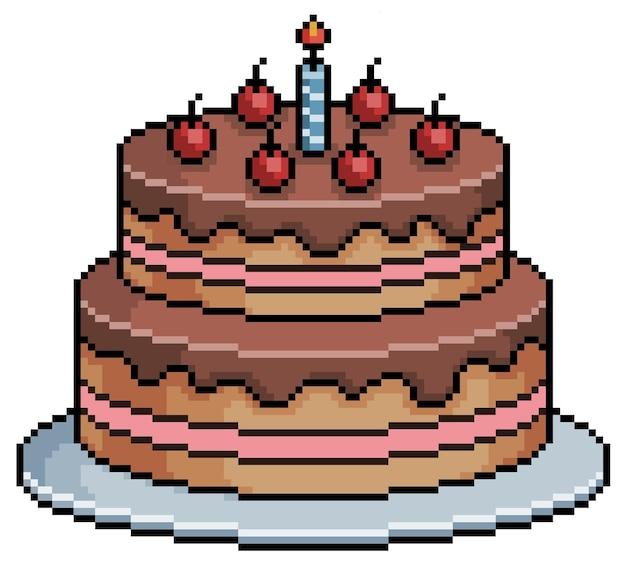 Bolo de aniversário de pixel art. item de jogo de bits