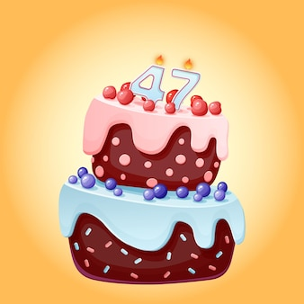 Bolo de aniversário de quarenta e sete anos com velas número 47. imagem de vetor festiva bonito dos desenhos animados. biscoito de chocolate com frutas vermelhas, cerejas e mirtilos. ilustração de feliz aniversário para festas