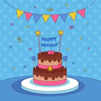 Bolo de aniversário desenhado à mão com cartola