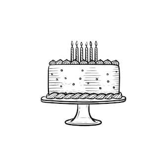Bolo de aniversário desenhado à mão contorno doodle ícone. ilustração em vetor desenho de bolo de aniversário decorado com velas para impressão, web, mobile e infográficos isolados no fundo branco.