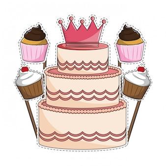 Bolo de aniversário e cupcakes
