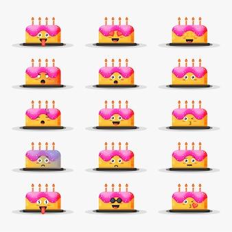 Bolo de aniversário fofo com conjunto de emoticons