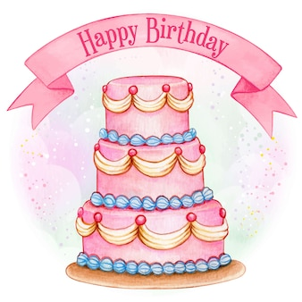 Bolo de aniversário gigante rosa aquarela