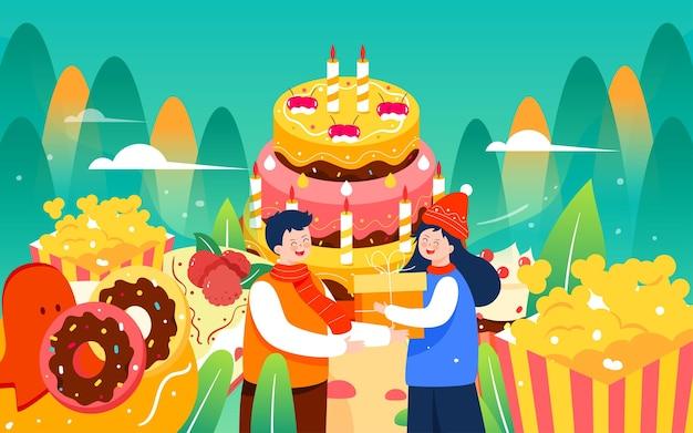 Bolo de aniversário ilustrado feriado deseja pôster de comida