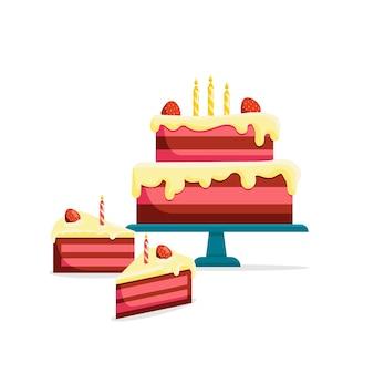 Bolo de aniversário inteiro e fatia cortada ilustração em vetor isolada ícones de comida saborosa de padaria