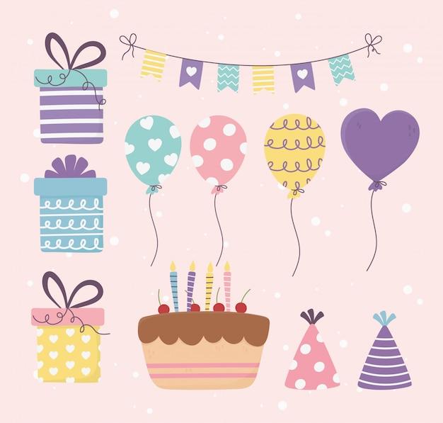 Bolo de aniversário presentes balões bunting decoração celebração feliz dia conjunto ilustração