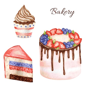 Bolo de aquarela de aniversário e casamento em fundo branco. pedaço de bolo em camadas e cupcake. deserto de doce mão desenhada com creme e biscoito.