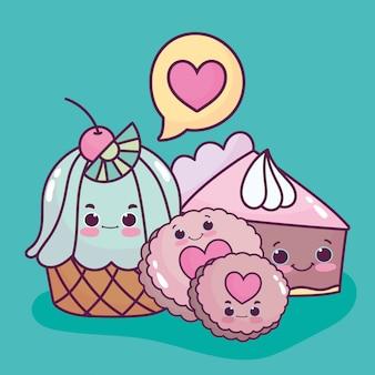 Bolo de bolinho de sobremesa fofa comida e bolo amor dos desenhos animados Vetor Premium