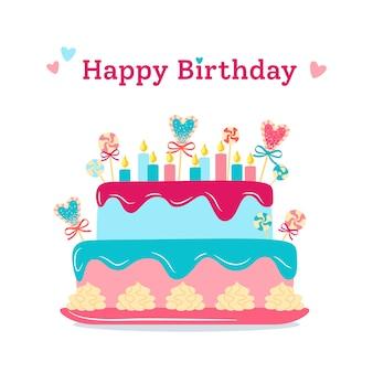 Bolo de cartão postal de saudação de aniversário torta plana