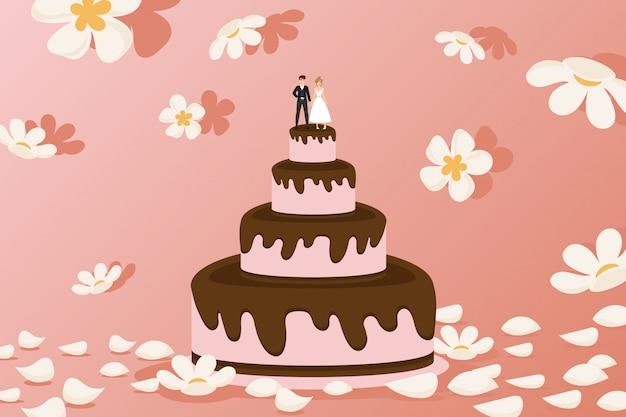 Bolo de casamento com estatuetas dos noivos na parte superior, ilustração ajustada do pão. sobremesa de camadas rosa com cobertura de chocolate