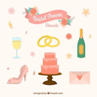 Bolo de casamento e outros itens